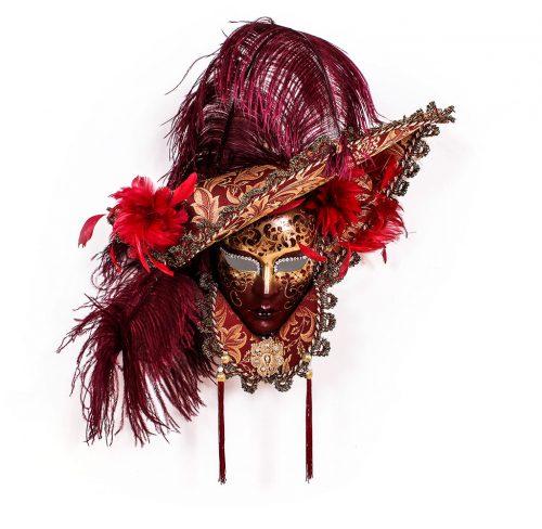 Dama Cappello Lusso Colletto Rosso