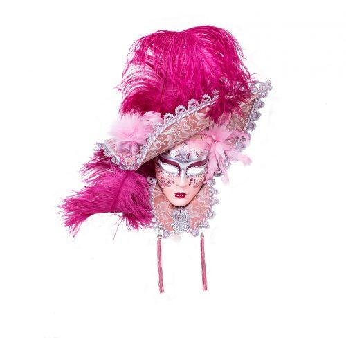 Dama Cappello Lusso Colletto Rosa